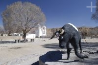 The Altiplanic town of Casabindo, with a statue of a bull to mark its famous feast, in the province of Jujuy, Argentina