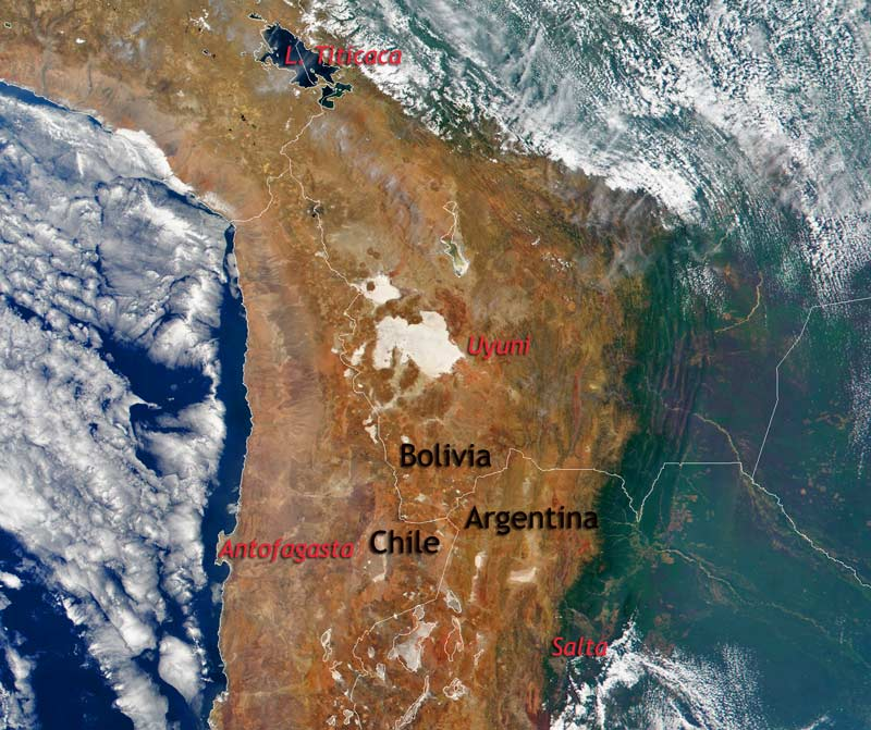 Central part of the Andes Cordillera viewed from space, where we see the Andean Altiplano