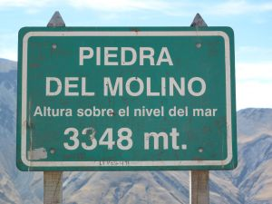 "Sign marking the ""Piedra del Molino"" view point, Salta"