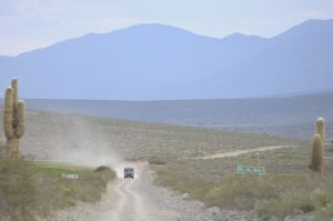 Vehicle on dirt road, in the Calchaquí valley, province of Salta
